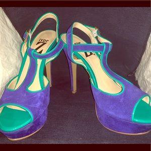 Type Z Blue & Teal Suede Heels